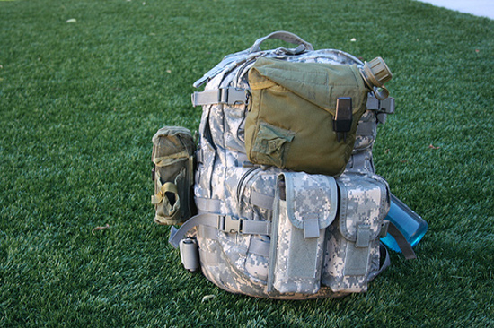 A pack in the field loaded with pouches from various manufacturers. I love MOLLE.